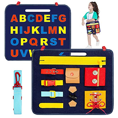FEISIKE Busy Board- Montessori Basic Skills Activity Toys for Toddlers 2 3 4 Years Old Early EducationLearning Fine Motor Skills & Learn to Dress and SpellTravel&Sensory Toy for Airplane or Car
