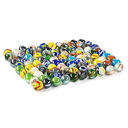 Jiahuade 100 Pezzi Biglie Colorate,Biglie Piatte,Biglie Colorate,Perle Vetro Bigiotteria per Bambini Gioca con Una Borsa a Rete (B)