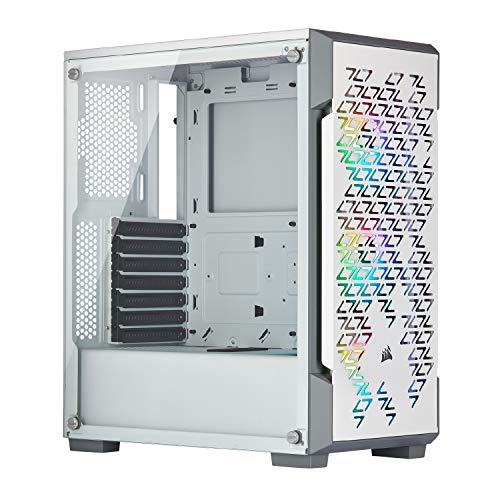 Corsair iCUE 220T RGB Airflow Tempered Glass Mid-Tower Smart Case, White - CC-9011174-WW