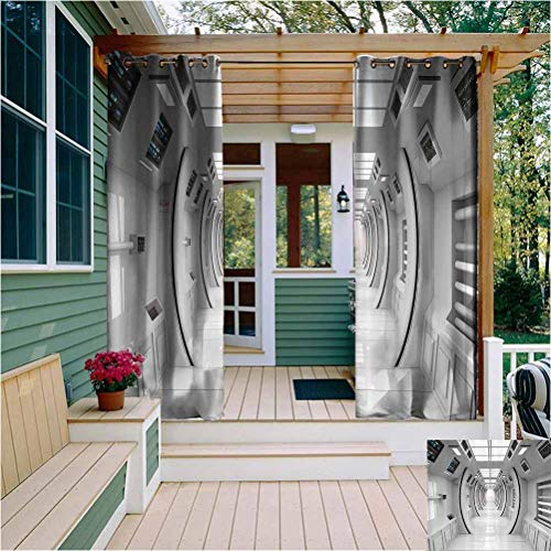 Outer Space Decor Room Darkening Drape for Balcony Cyber Tech Design with Art Effects Science Fiction Element Featured Station Outdoor Drape for Pergola/Porch, Tan White W72 x L72 Inch