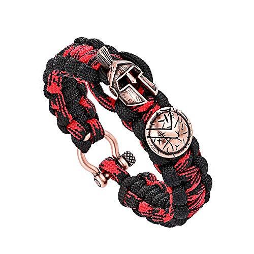 HUAHUA Unisex Survival Armband mit Spartan Warrior Outdoor Notfall Taktische Ausrüstung Armband 18.5cm / 21.5cm / anpassbar