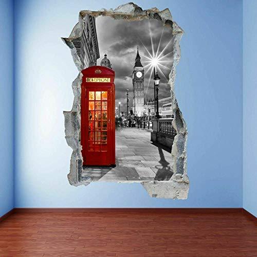 Cabina de teléfono roja Cabina de arte de pared 3D Etiqueta mural Cartel de la etiqueta 60x90cm