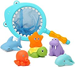 HAFUZIYN Bath Toy with Fishing Net, Floating Animals, Catch Net Game Bathroom Pool Accessory, Shark Fishing Play Set for Babies and Kids