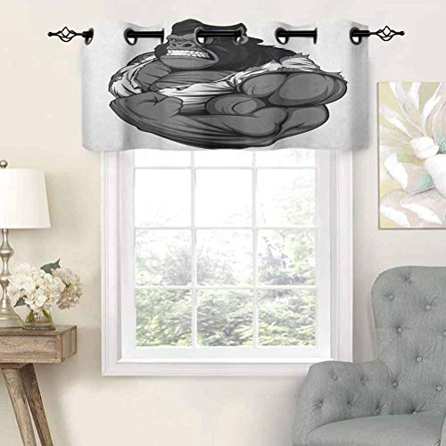 Premium Window Grommet Short Curtain Valance Panels Image of Big Gorilla Like as Professional Athlete Bodybuilding Gym Animal, Set of 1, 36'x18' for Bathroom & Kitchen