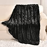Fluffy Faux Fur Blanket 50' x 60', Warm Furry Soft Fuzzy Plush Fleece Throw Blanket Comfy Thick Sherpa Blanket for Bed Chair Sofa Couch Bedroom(Black, Throw50 x 60')