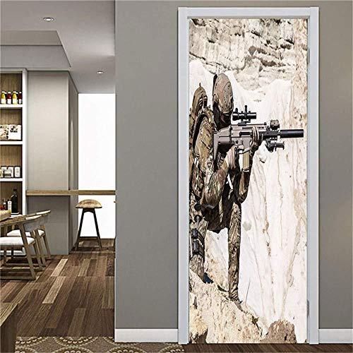 Wsmsp Zelfklevende 3D Deur Muren Schil en Stick Decor Stickers Strategische Spel DIY Waterdicht voor Woonkamer Slaapkamer Huis Decor Behang Verwijderbare Kunst Poster 30.3X78.7 (77X200Cm)