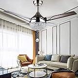 N / A Ventilador de Techo Moderno con la luz 5 Palas Reversibles en Acero Inoxidable y Accesorios de iluminación Que Cambia de Color de Tres a una Velocidad con la Placa de LED (Estilo