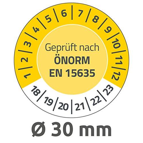 AVERY Zweckform 6991-2018 onvervalsbare testplaketten 2018-2023 (zelfklevend, klein formaat, Ø 30 mm, 80 stickers op 10 vellen, handbeschrijfbare plakfolie voor het aangeven van inventariteit), geel