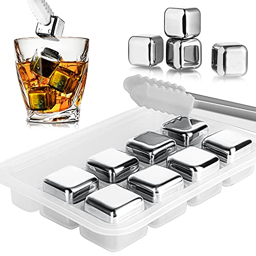 Cubetti di ghiaccio Whisky Stones in acciaio inossidabile riutilizzabile, Set di 8 cubetti di ghiaccio con Punta in Silicone pinze e Vassoio, per Whisky Cocktail Vodka Wine Beer e tutte le bevande