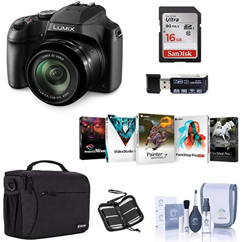 Panasonic Lumix DC-FZ80 Digital Point & Shoot Camera - Bundle with 16GB SDHC Card, Camera Bag, Cleaning Kit, Memory Wallet, Card Reader, PC Software Package