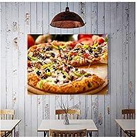 BGGGTD ポスター レストランキッチンピザハンバーガーポスター写真おいしい食べ物キャンバス絵画壁アートピザショップ装飾-50x70cmx1フレームなし