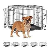 Relaxdays Jaula para Perros para el hogar, la Oficina, el Coche, Plegable, de Acero con bañera, Nexo 59,5 x 75 x 53 cm, Color Negro, Large