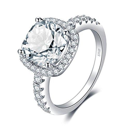JewelryPalace Anillos Mujer Plata Diamante Simulado, Anillos de Compromiso Plata de ley 925 Mujer Chapado en Oro Blanco, 3ct CZ Promiso Halo Anillo Mujer Alianzas Boda, Aniversario Joyería
