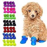 4pcs Botas De Lluvia para Perros Antideslizante De Silicona Botas De Perro Impermeables Zapatos De Cachorro Botines Suaves Y Flexibles para Perros De Mascotas Botas De Lluvia para Perros Pequeños