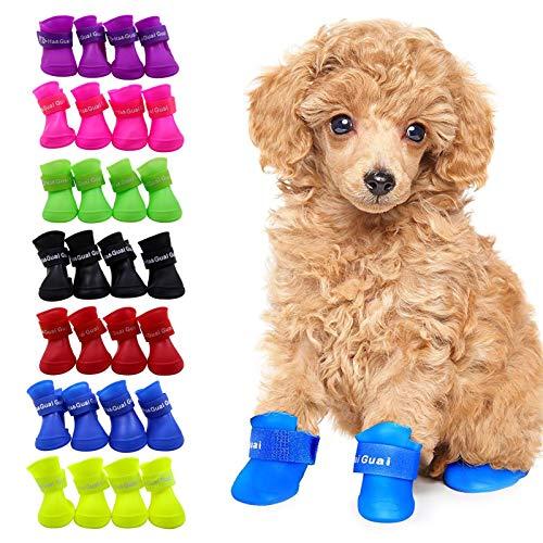 4pcs Botas De Lluvia para Perros Antideslizante De Silicona Botas De Perro Impermeables Zapatos De Cachorro Botines Suaves Y Flexibles para Perros De Mascotas Botas De Lluvia para Perros Peque