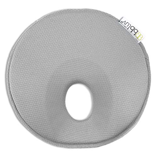 bblüv - Pilö - Ergonomic Headrest for Baby - Soft, Breathable Baby and Infant Head-Shaping Pillow to Provide Neck Support and Prevent Flat Head Syndrome (Cool Grey)