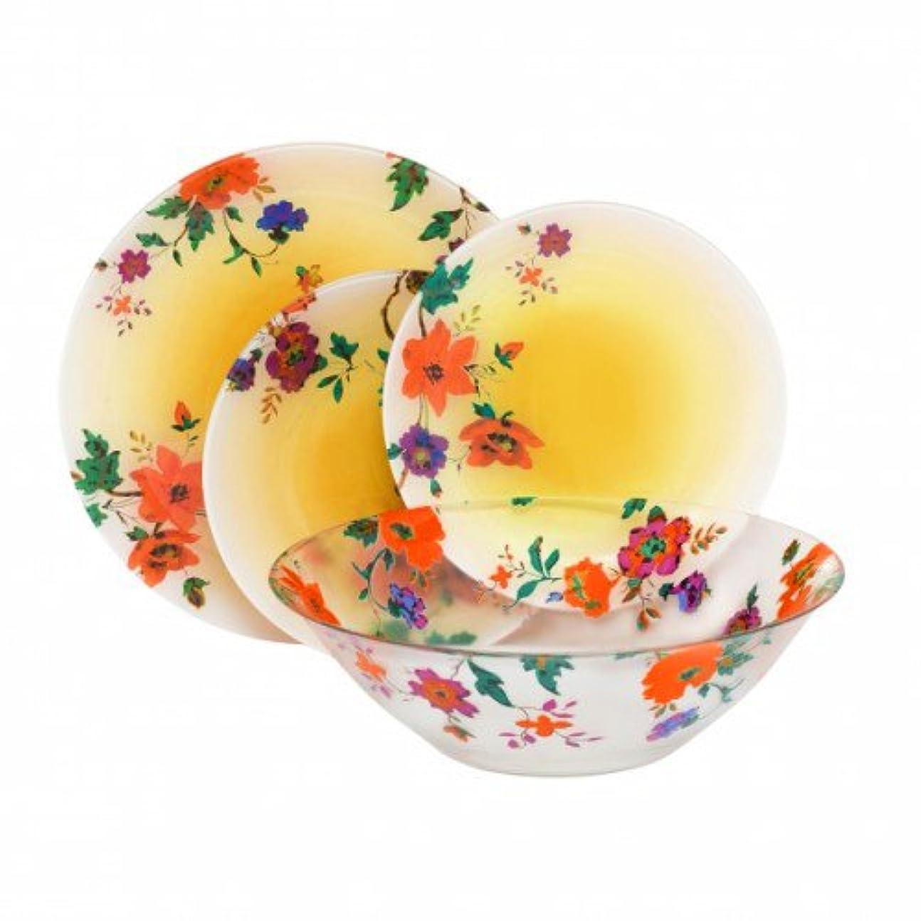 普通に判決シーフードLuminarcマリツァオレンジ」壊れない強化ガラス19-pcs食器セット、オレンジ色付きヴィンテージDish Set