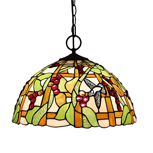 Beleuchtung Tiffany Stil Pendelleuchten, WAL Titania Antike und mit Juwelen Uplighter Pfau Design Deckenleuchte Anhänger Glasmalerei Schatten, 30 * 40 cm.