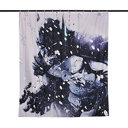 Cortina de ducha DC Comics con licencia, exclusiva de Elbenwald. Impreso en un lado con motivo de Batman en diseño cómico. Con 12 ojales de plástico (sin aros de suspensión). Imanes cosidos en la parte inferior, dimensiones 180 x 200 cm También se pu...