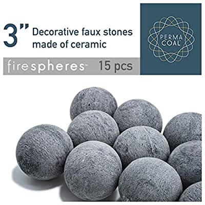 Bond Manufacturing Ceramic Fire Balls | Set of 15 | Fire Pit / Fire Table Accessory for Indoor and Outdoor Fireplace