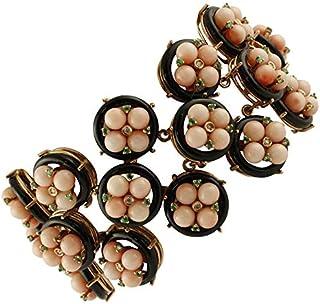 Bracciale Oro Rosa, Corallo, Onice, Diamanti e Smeraldi