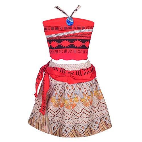 Lito Angels Niñas Princess Moana Vaiana Disfraz Aventuras 2 Piezas Top y Falda Conjunto Halloween Vestido de Fiesta Talla 5-6 años