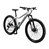 Mongoose Tyax Sport Adult Mountain Bike, 27.5-Inch Wheels, Tectonic T2 Aluminum Frame, Rigid Hardtail, Hydraulic Disc Brakes, Womens Medium Frame, White