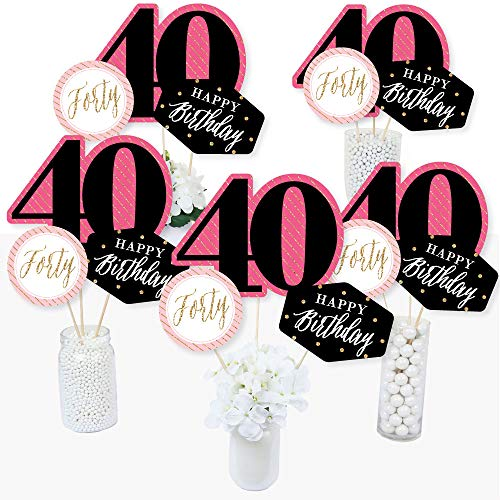Chic 40th Birthday - Pink, Black and Gold - Birthday Party Centerpiece Sticks - Table Toppers - Set of 15