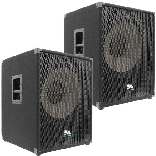 """Seismic Audio - Enforcer II PW - Pair of Powered PA 18"""" Subwoofer Speaker Cabinets"""