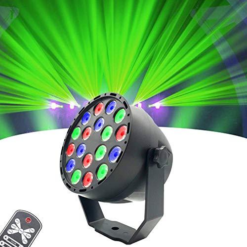 WHCCL Discoteca Par LED Discoteca RGB 18LED Discoteca verlichting 7 modi spotlight geactiveerd door geluid met infrarood afstandsbediening voor DJ KTV