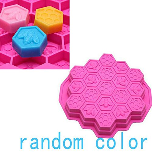 1 Piece 19 Cell Honey Comb Bees Soap Silicone Mould Beeswax Ice Jelly Chocolate Silicone Cake Pan DIY Fondant Cake Decoration Mold Baking Tray Bakeware Supplies