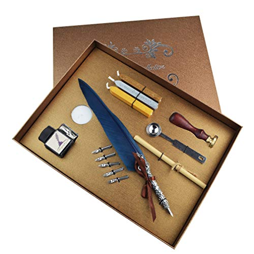 mifengda Antique Feather Dip Pen Set Vintage Writing Quill Ink Dip Pen Set Calligraphy Pen Set Luxury Quill Pen and Ink Accessories Set with 5 Metal Nibs Best Gift Set