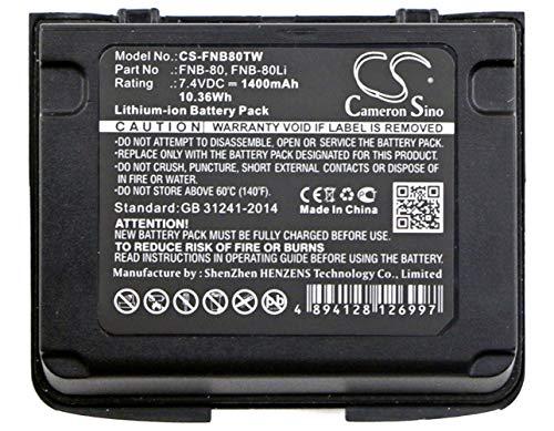 CS-FNB80TW Akku 1400mAh Kompatibel mit [Horizon] HX460, HX460S, HX470S, HX471, HX471S, HX471SB, HX471SS, für [Vertex] VX-5, VX-5R, VX-5RS, VX-6E, VX-6R, VX-7R, VX-7RB, VXA-700, VXA-710, für [YAESU] V