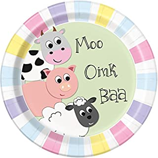 Unique Party 54845 54845-Cute Farm Animal Party Plates, Pack of 8