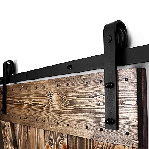 CCJH Binario per Porta Scorrevole Kit 183cm(6FT) Binario Scorrevole Esterno Muro Completo Accessori per Porte Scorrevoli Singole, Nero