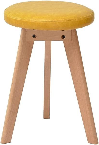 WZ Ottomans PU Makeup Stool Solid Wood Triangle Bracket Footstool Change Shoe Stool Living Room Bedroom Stripe Color Yellow