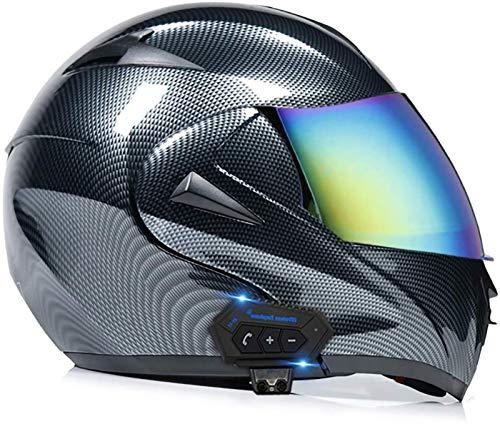 Cascos abatibles con Bluetooth para motocicleta Cascos abatible Cascos integrales Casco de motocicleta Casco para scooter Scooter Doble visera para mujeres Hombres Adultos Certificación ECE E,M