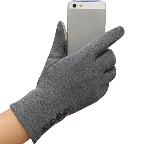 TWIFER Touchscreen Mode Damen Winter Outdoor Sport Warme Handschuhe (23cm, Grau)