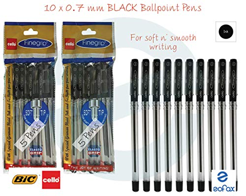 5x-Cello-Butterflow-Ballpoint-pen-Black-0-7mm-Swiss-Metal-Clip-Elasto-Grip  5x