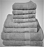 Debonair Lux Premium 8 Piece Towel Set (Light Grey); 2 Bath Towels, 2