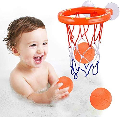 ENTHUR Badespielzeug Spaß Basketballkorb & Bälle Set für Jungen und Mädchen Kinder & Kleinkinder Badespielzeug Geschenkset 3 Bälle enthalten