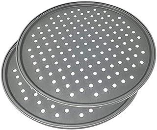 Space Home - Moules à Pizza Perforées - Plaque à Pizza Anti-Adhésive - Set 2 - Acier au Carbone - Ø 32 cm