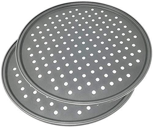 LS Kitchen - Pizzablech - Antihaft-Pizza-Backblech mit Löchern - Karbonstahl - Ø 32 cm - Set von 2