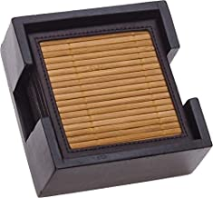 Thirstystone Bamboo and Faux Leather Ambiance Coasters, Multicolor