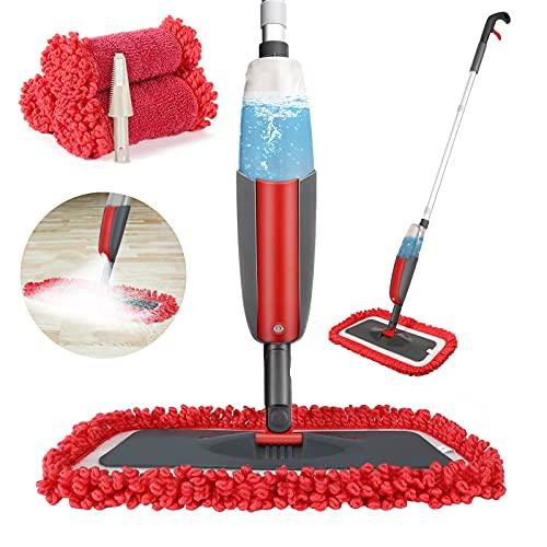 Winpok Wischer Mit sprühfunktion, Sprühwischer Für Schnelle Reinigung,Spray Mop Mit Sprühdüse,Bodenwischer Sprühfunktion Mit Wassertank Und 3-Mikrofaserbezug (Rot)