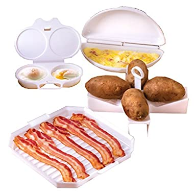 4 Piece Microwave Cookware Set Includes Microwave Bacon Cooker, Egg Poacher, Omelet Maker And Potato Baker for Perfect Baked Potatoes In Your Microwave Oven - Dishwasher Safe