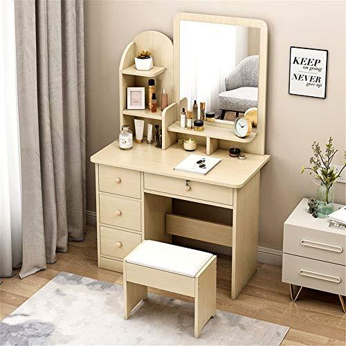 Ouuager-Home Schminktische Moderne Minimalist Schlafzimmer Lagerung Multifunktions-Schreibtisch Eine Frisierkommode Frisierkommode (Color : Beige, Size : 80x40cm)