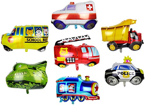 Car Balloons Aluminum Foil For Car Birthday Party Decoration Vehicle Transportation Theme Party Supplies Includes Construction Truck Train Tank Police Car Ambulance Fire Truck School Bus Pack of 7