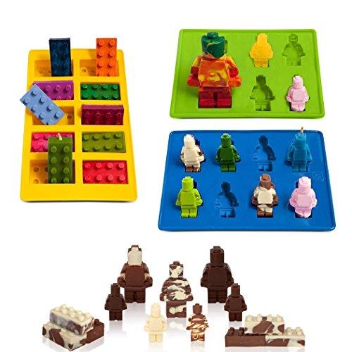 FantasyBear Bricks Mold,Silicone Molds Set for Building Blocks and Robots Birthday Cake Decoration Candy Molds Chocolate Molds Smile Ice Cube Candy Dessert Jello Molds (Robot Mold 3pcs Set)