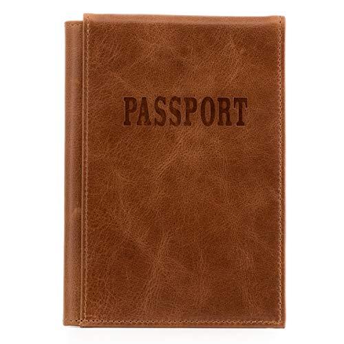 Otto Angelino – Porte Passeport en Cuir Véritable - Blocage des Signaux RFID - avec Emplacement pour Billet de Transport et Étiquette à Bagage (Marron Clair)